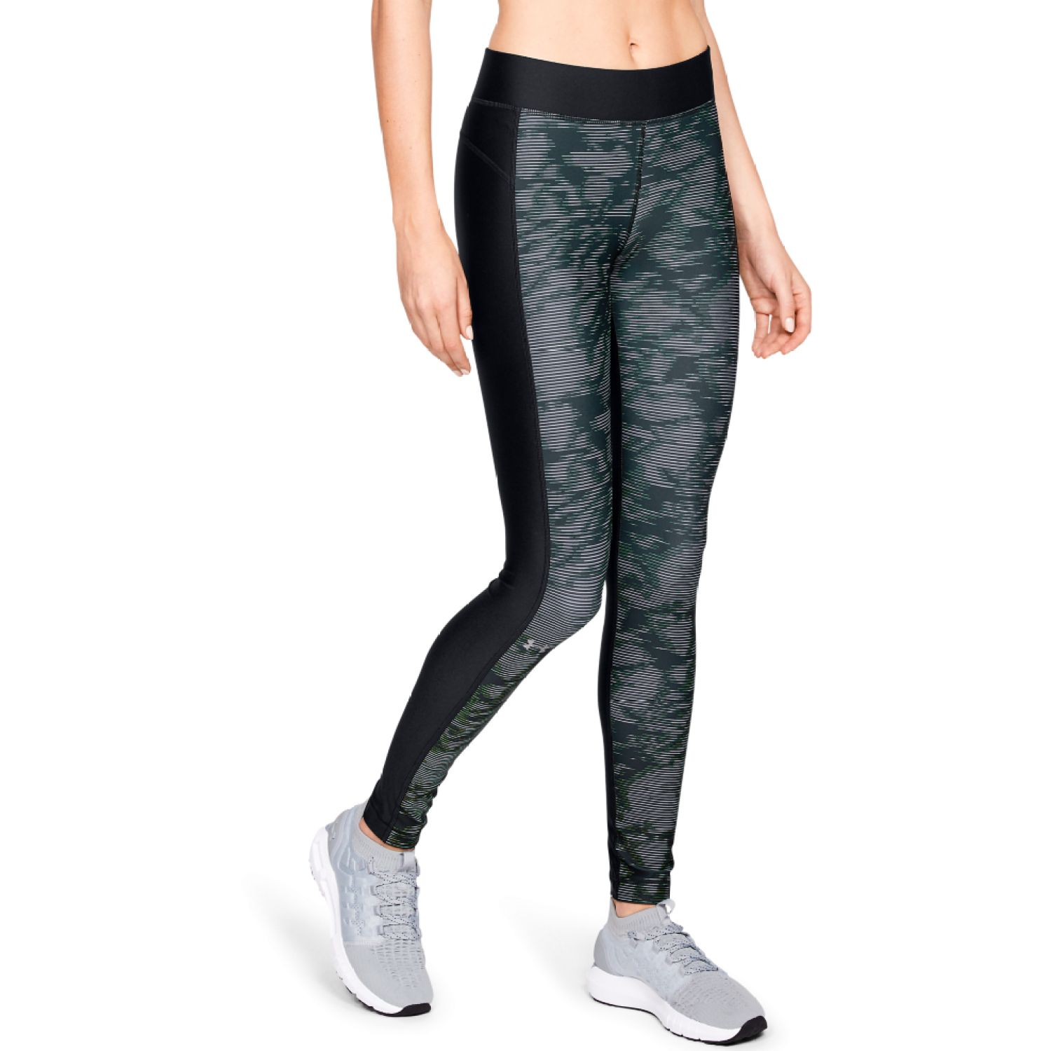 Under Armour UA HG Armour Printed Legging-BLK Negro / azul Leggings Deportivos