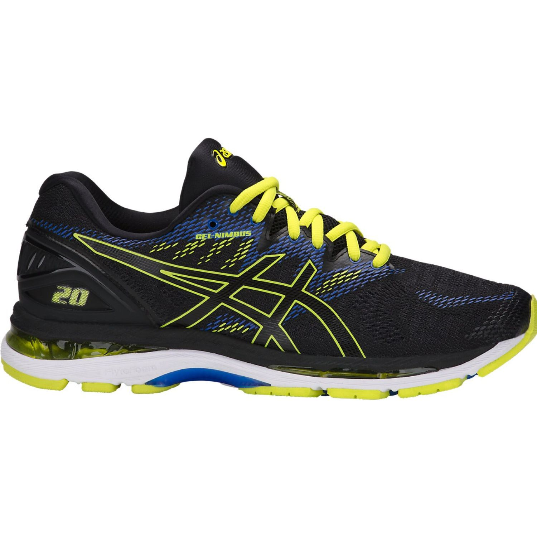 Asics gel nimbus 20 blk sulphur vcta blu Negro / amarillo Running en pista
