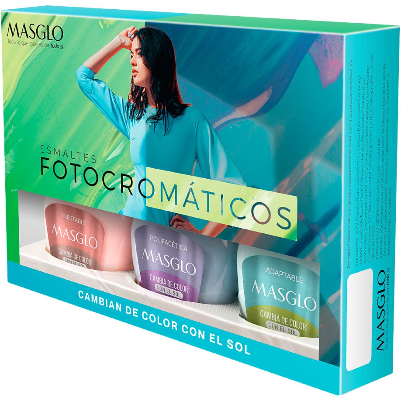 MASGLO Kit Esmaltes Fotocromatico 2v(Cambia Con La Luz De Varios Esmalte
