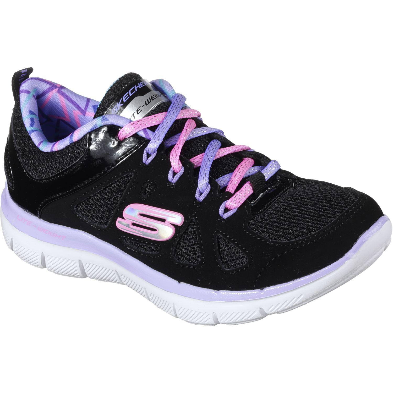 Skechers 81674l-Bklv Negro / lila Para caminar