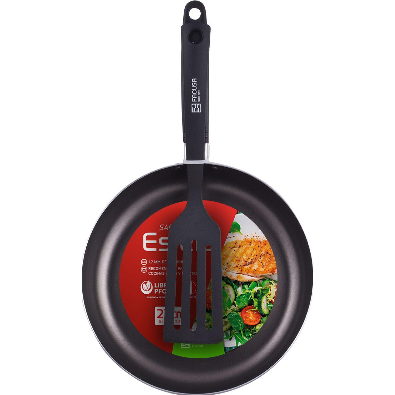 FACUSA Sarten Antiad. + Expatula  Estela 22cm Negro Sartenes para omelet