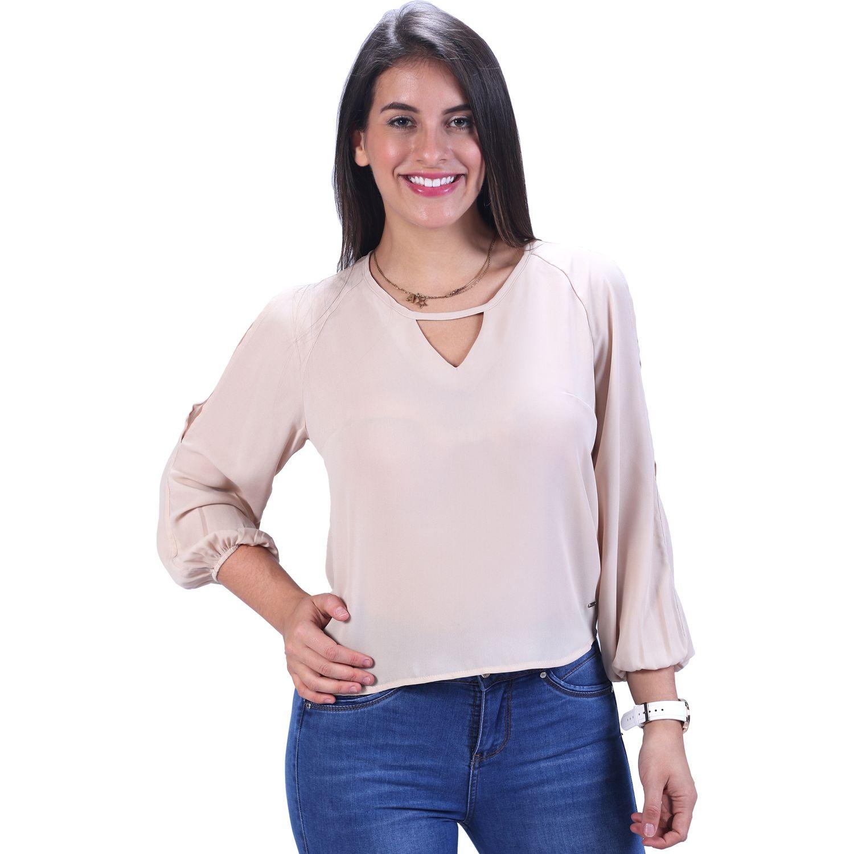 FORDAN JEANS Blusa Manga Larga C/Elast. Puño Gasa Beige Blusas y camisas con botones