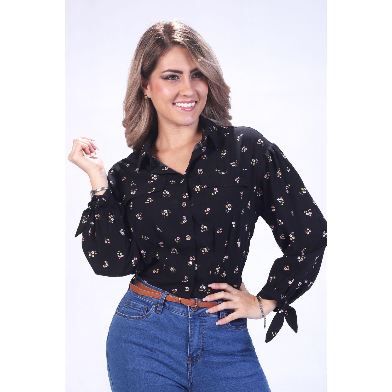 FORDAN JEANS BLUSA C/PLIEGUES CHALIZ ESTAMPADO Negro Blusas y camisas de botones
