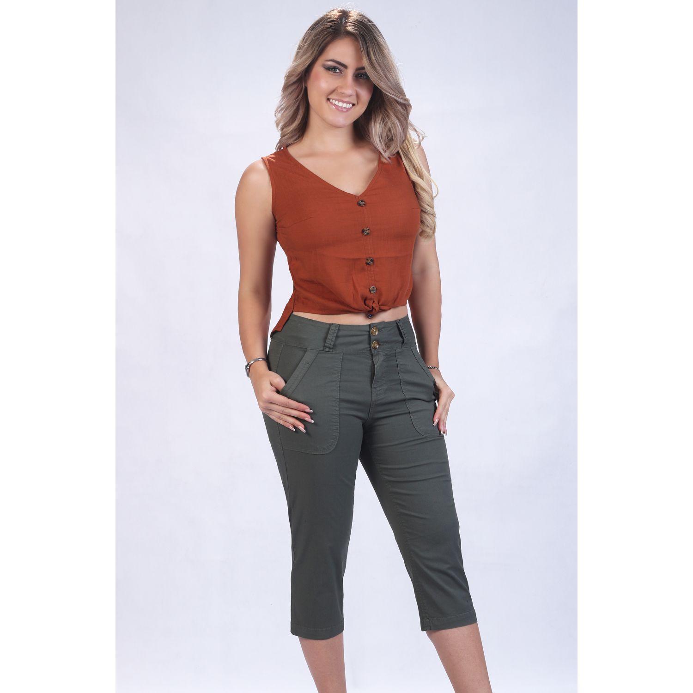 FORDAN JEANS Snicker Dama Moda Tafeta Strech Olivo Casual
