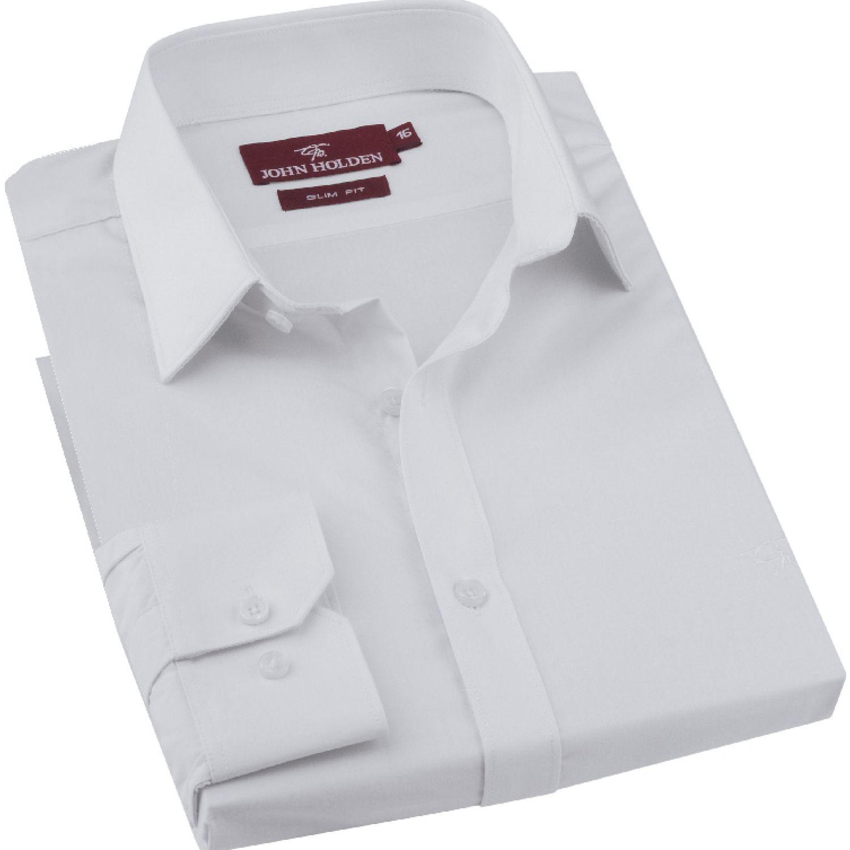 JOHN HOLDEN Camisa M/L Color Entero Bruno Blanco Camisas de vestir