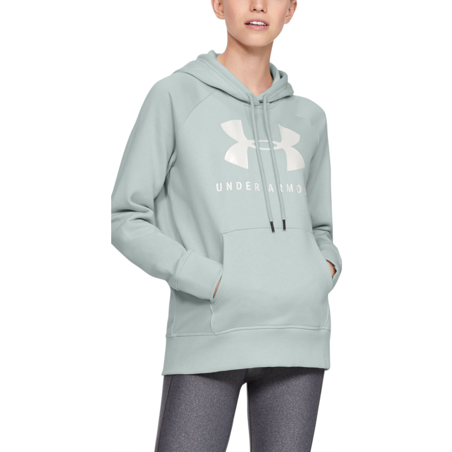 Under Armour RIVAL FLEECE SPORTSTYLE GRAPHIC HOODIE Acero Hoodies Deportivos