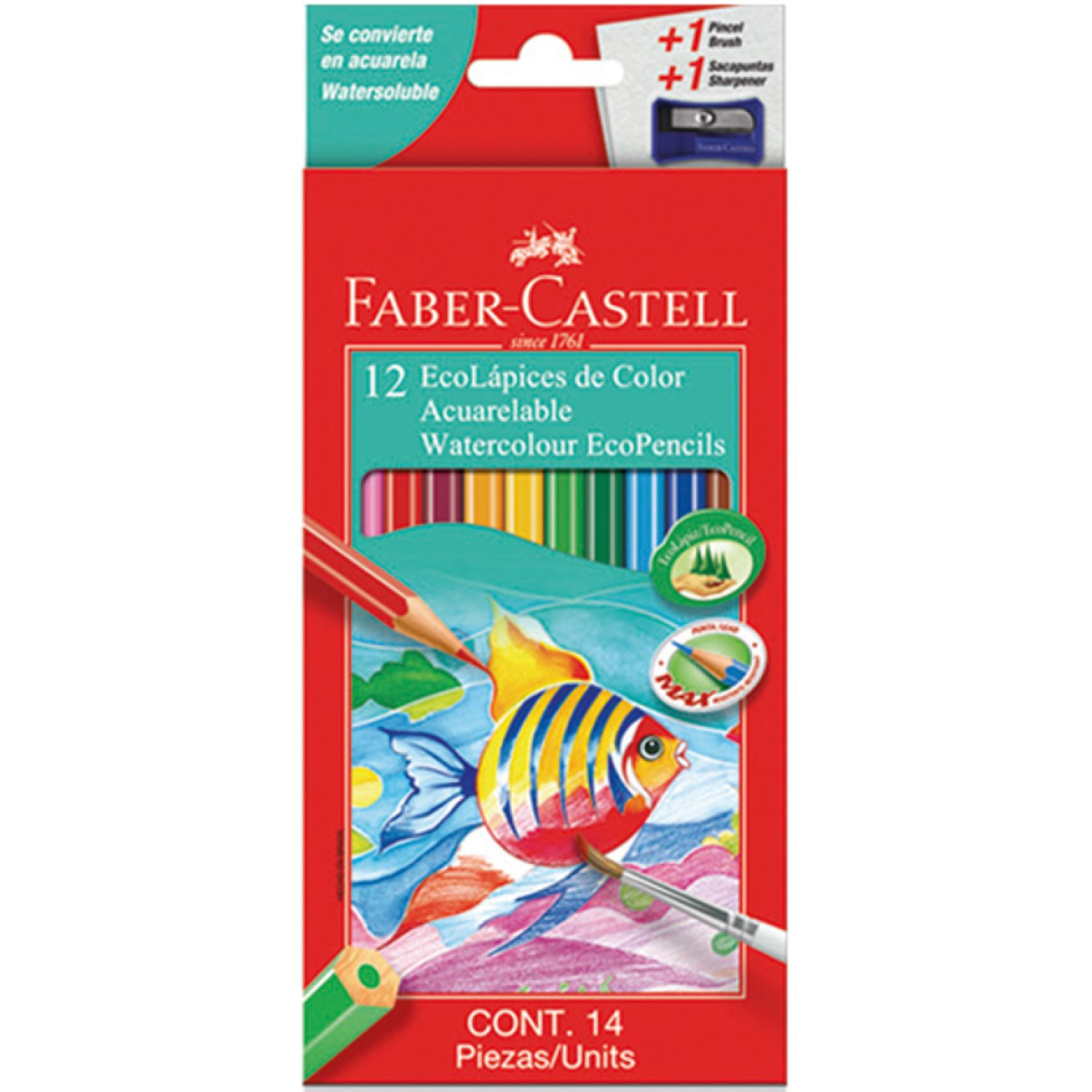 FABER CASTELL ECOLAPIZ DE COLOR ACUARELABLE X12 Varios Lápices coloreados