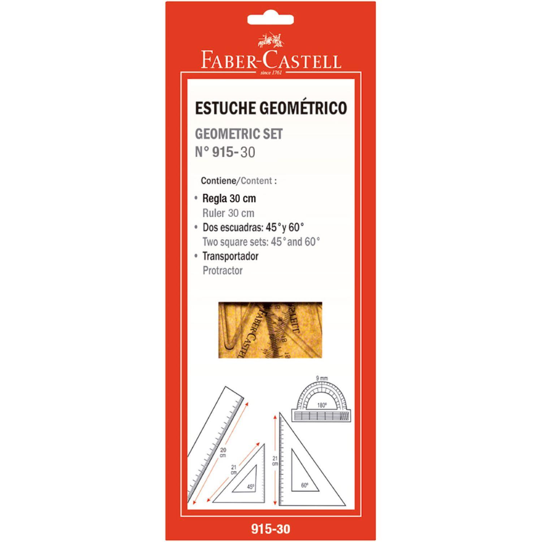 FABER CASTELL JUEGO GEOMETRICO 91530 30CM Transparente gobernantes