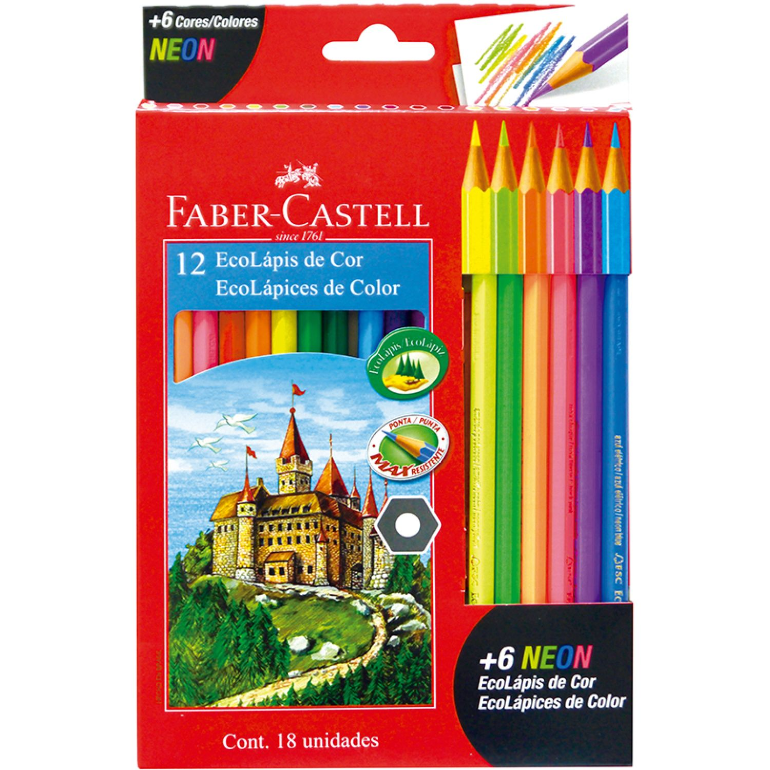 FABER CASTELL Ecolapices Colores X 12 + 6 Neon Varios Lápices coloreados