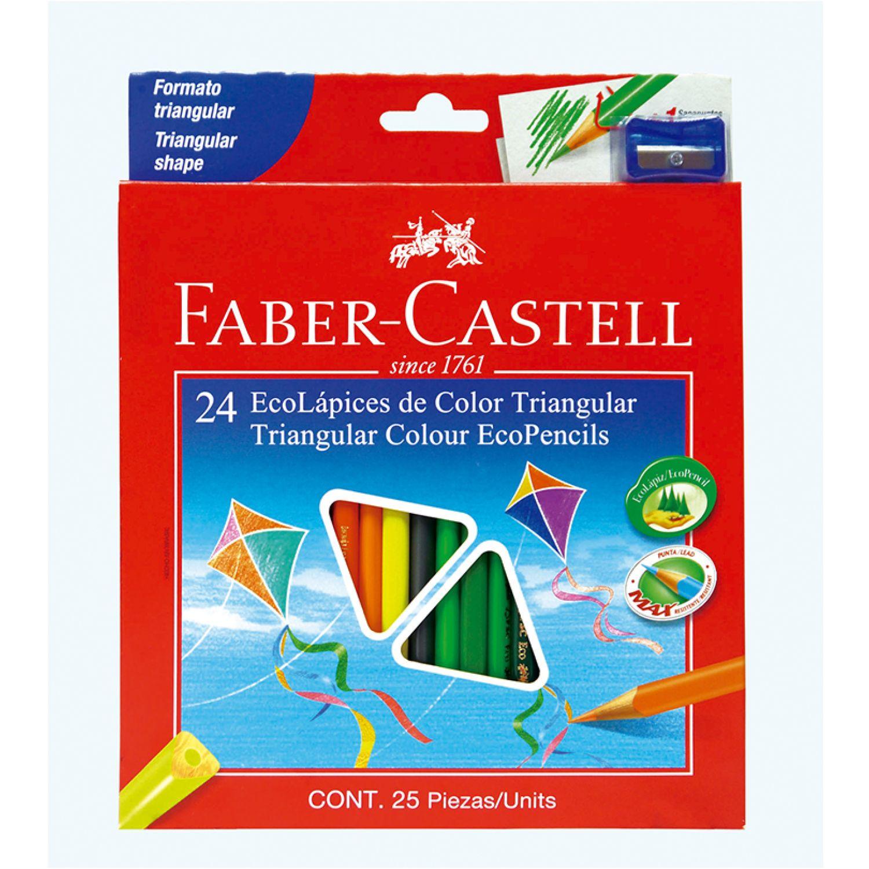 FABER CASTELL ECOLAPICES DE COLORES TRIANGULAR X24 Varios Lápices coloreados
