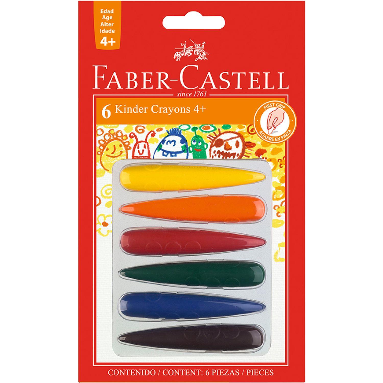FABER CASTELL Kinder Crayon 240404 Cohe/Cono Blx6 Varios Crayolas