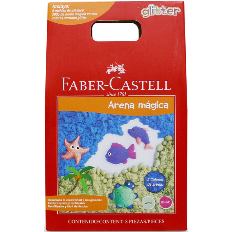 FABER CASTELL Arena Magica Glitter 300g 6 Moldes Varios Manualidades con arena