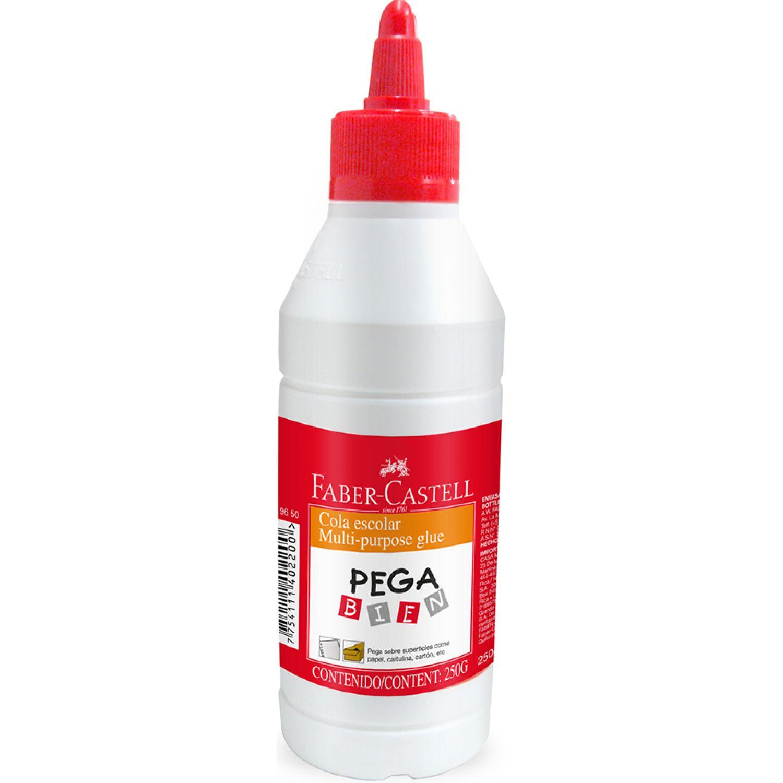 FABER CASTELL COLA ESCOLAR PEGA BIEN 250G Blanco Colas liquidas blancas