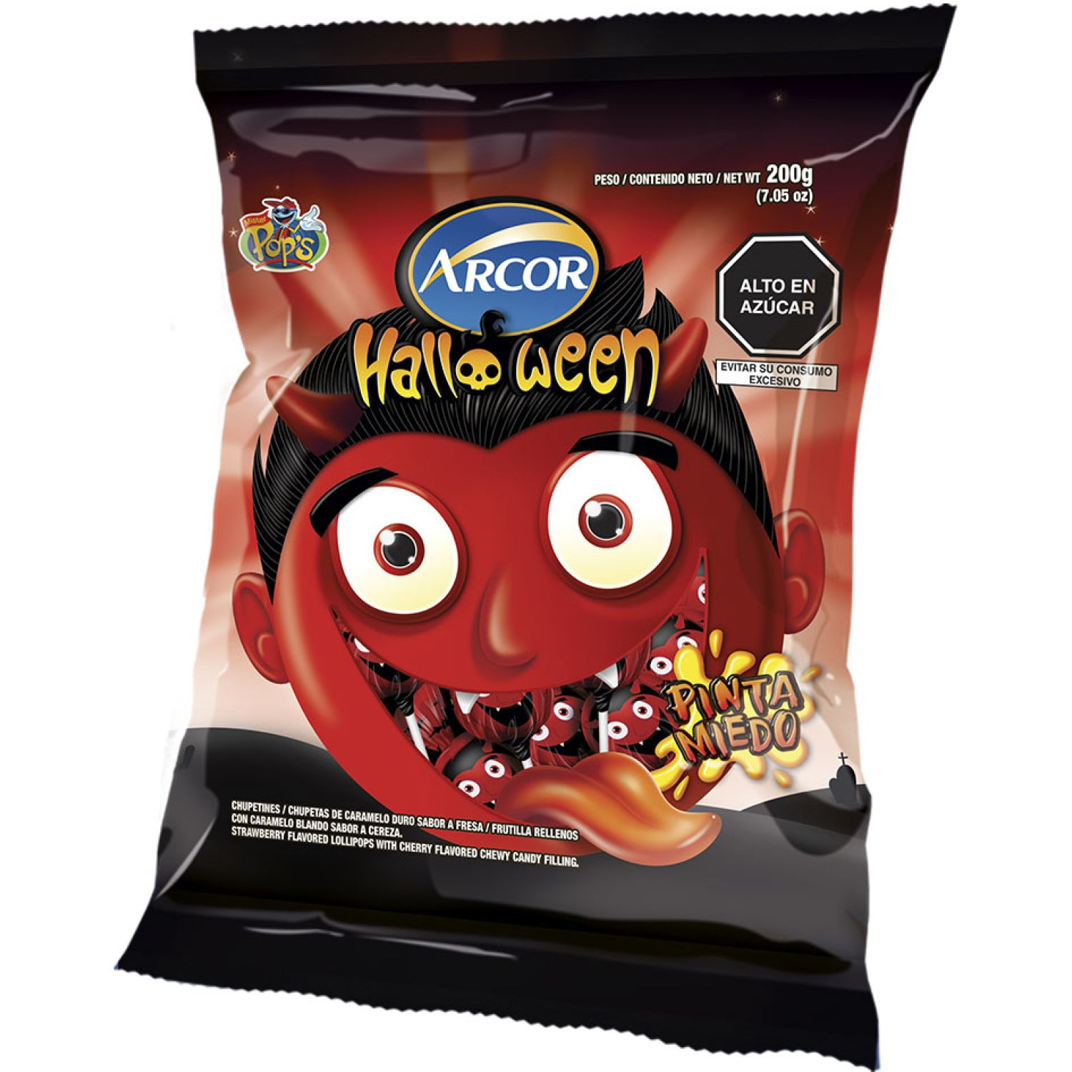 ARCOR Chupetines Mr Pop'S Halloween 200g Sin color Ventosas y Lollipops