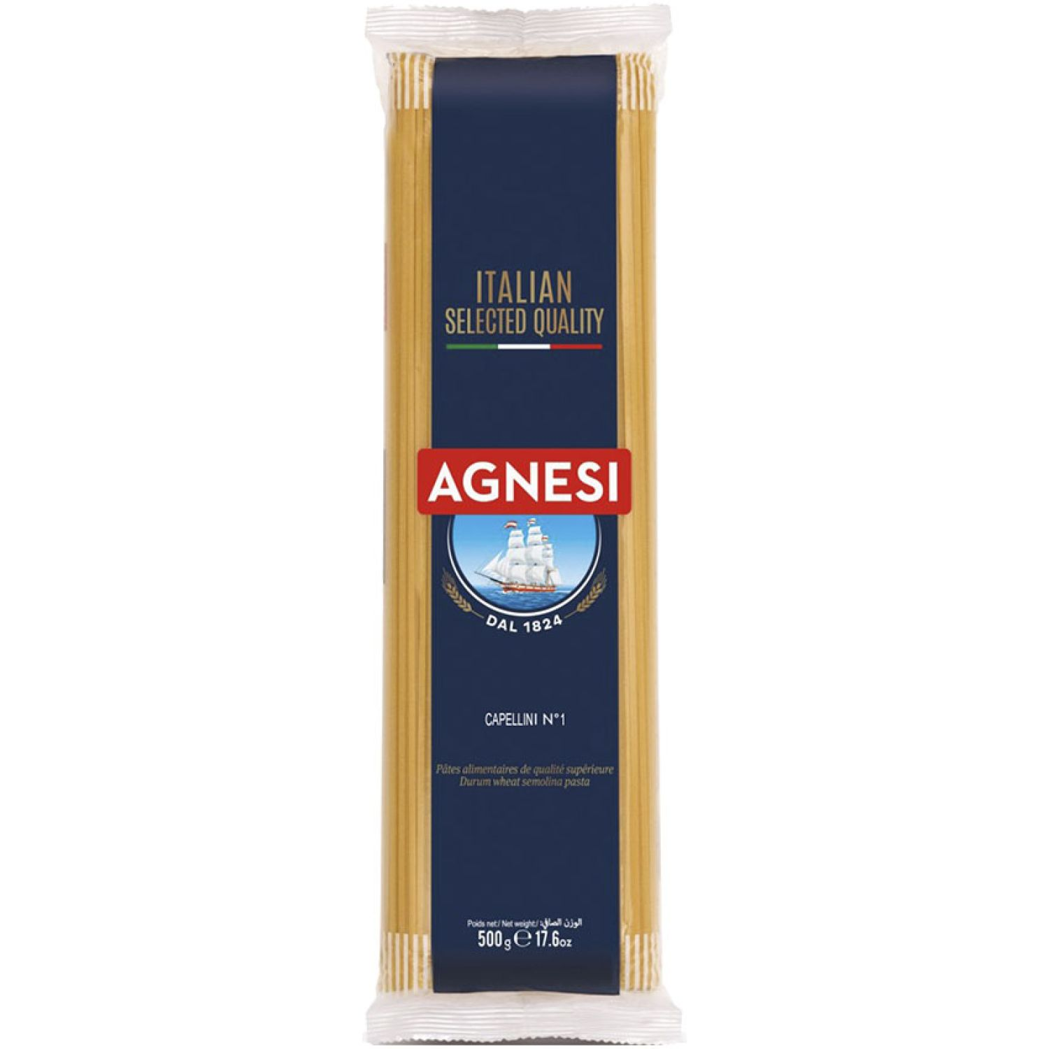 AGNESI Capellini 500 Gr Sin color Leche de arroz