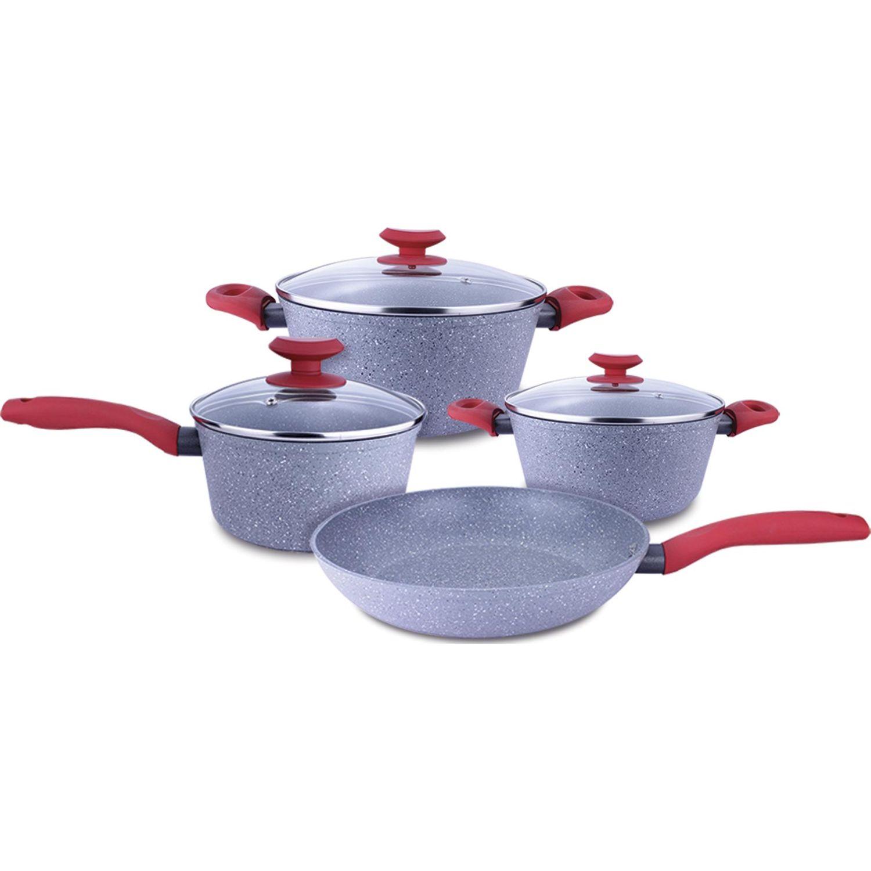 Record Juego Cer Piedra C/ Asas Rojas 7pz Rojo / gris Juegos de Utensilios de Cocina