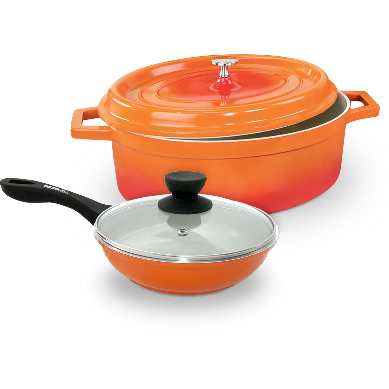 Record Pack Olla Gourmet Cer 6.4l+sarten24 Naranja Ollas Soperas