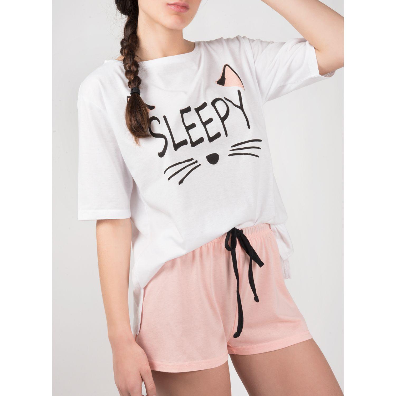 SISI Pijama Basic Sleepy 2 Piezas Short Blanco Camisones y camisetas de dormir