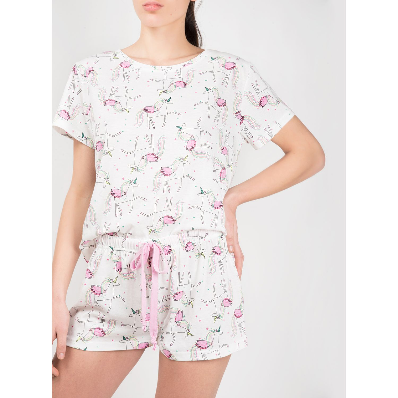 SISI Pijama Unicorn 2 Piezas Short Marfil Camisones y camisetas de dormir