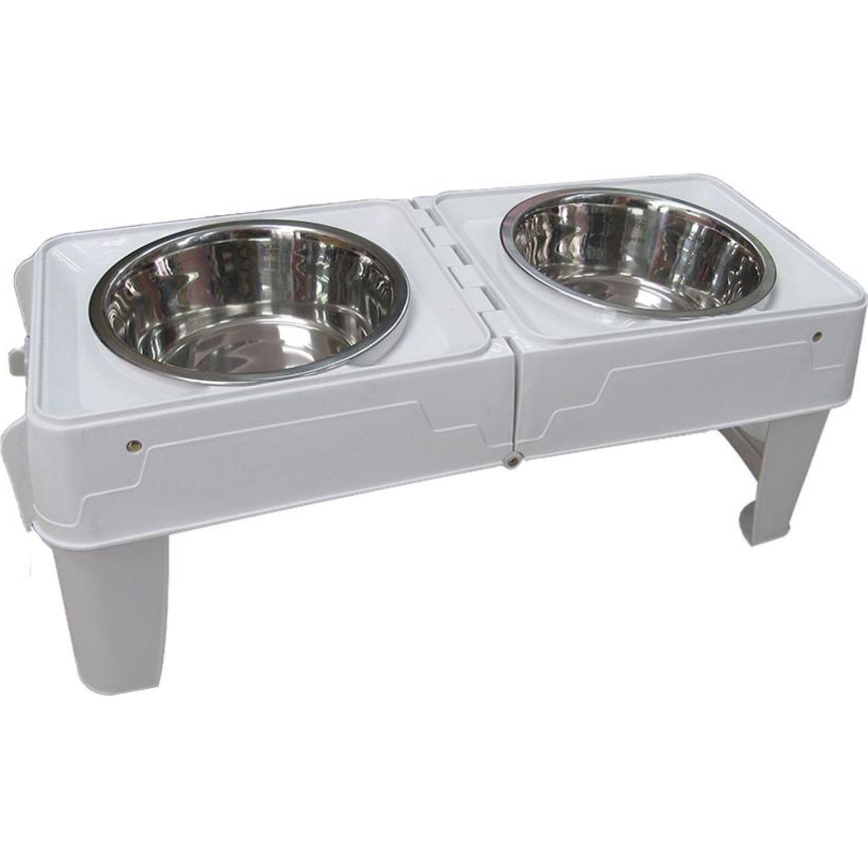 PETS BY LI Mesa Plegable C/Platos Mascotas Varios Almacenamiento de alimentos