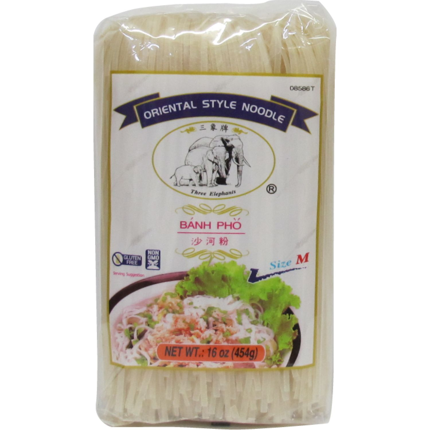 THREE ELEPHANTS Fideo De Arroz (M) 1lb Paq 0 Fideos de arroz