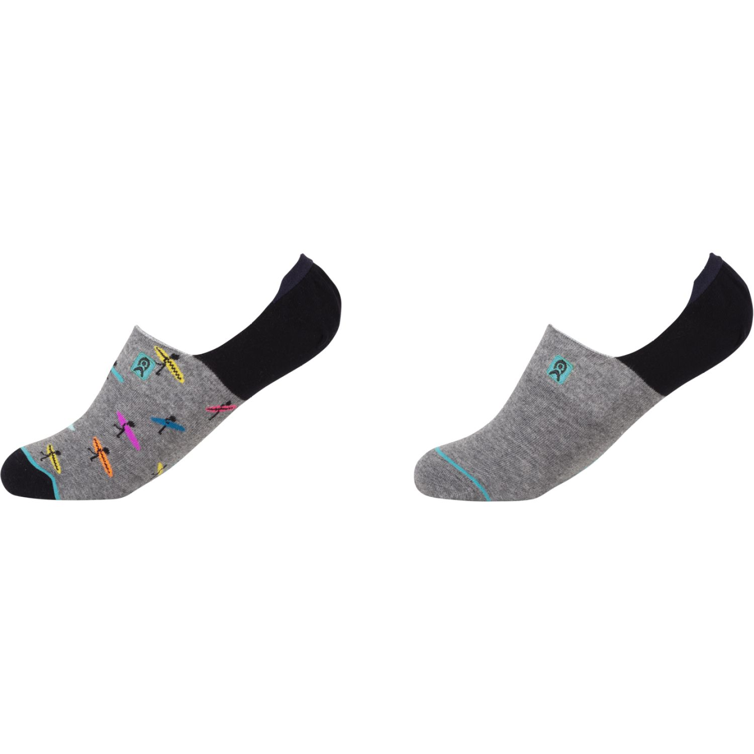 ENERSOCKS Cal 80840d02 Pack 2 Invisible Gris / negro Calcetines