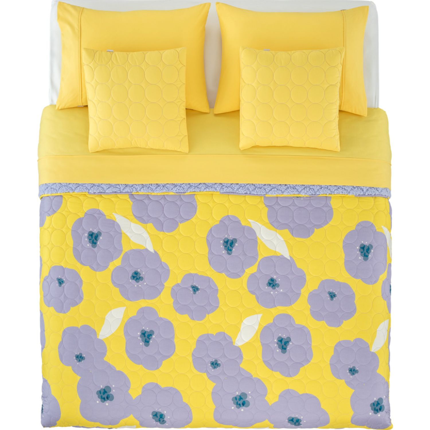Casaideas KING Set Cubrecama Quilt Flores MULTICOLOR Set de Cama