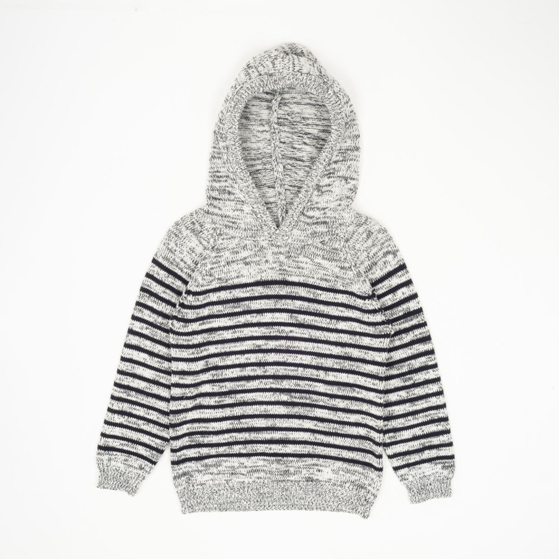 Colloky Sweater Con Gorro Listado Swla1111 Gris Abrigos de plumas y alternativos