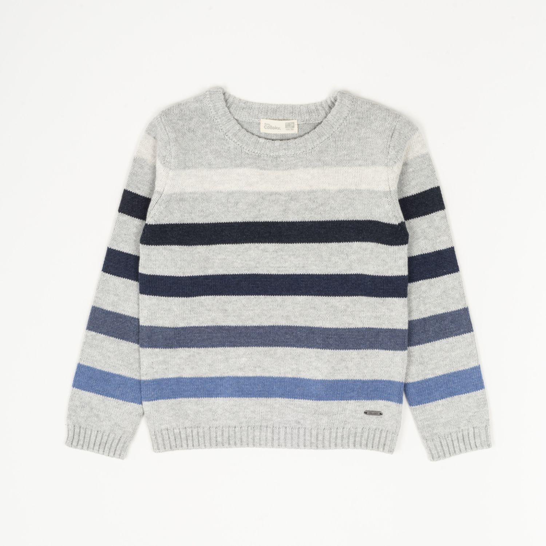 Colloky Sweater Listado Jaspeado Swla1711 Gris suéteres