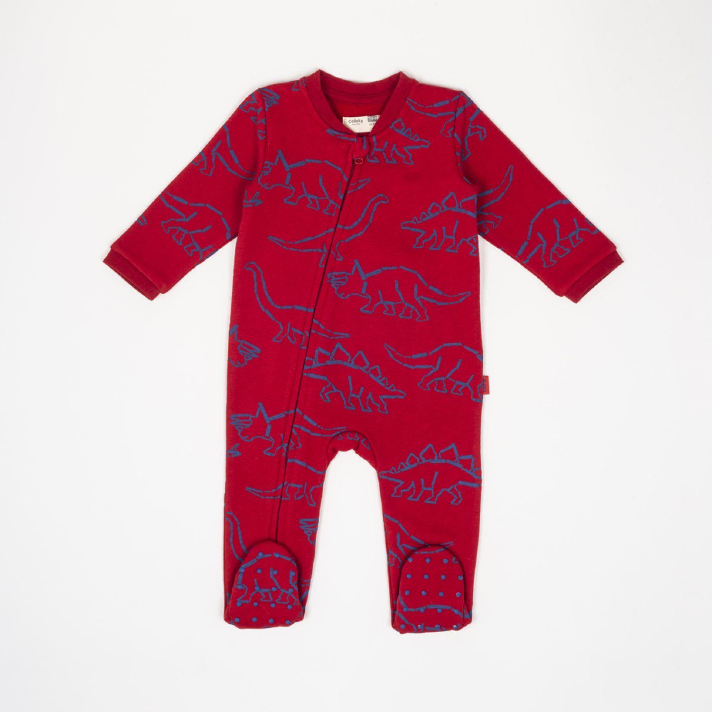 Colloky Pijama Enterito Franela Diseño Dino Pjpo0582 Rojo Pañaleros