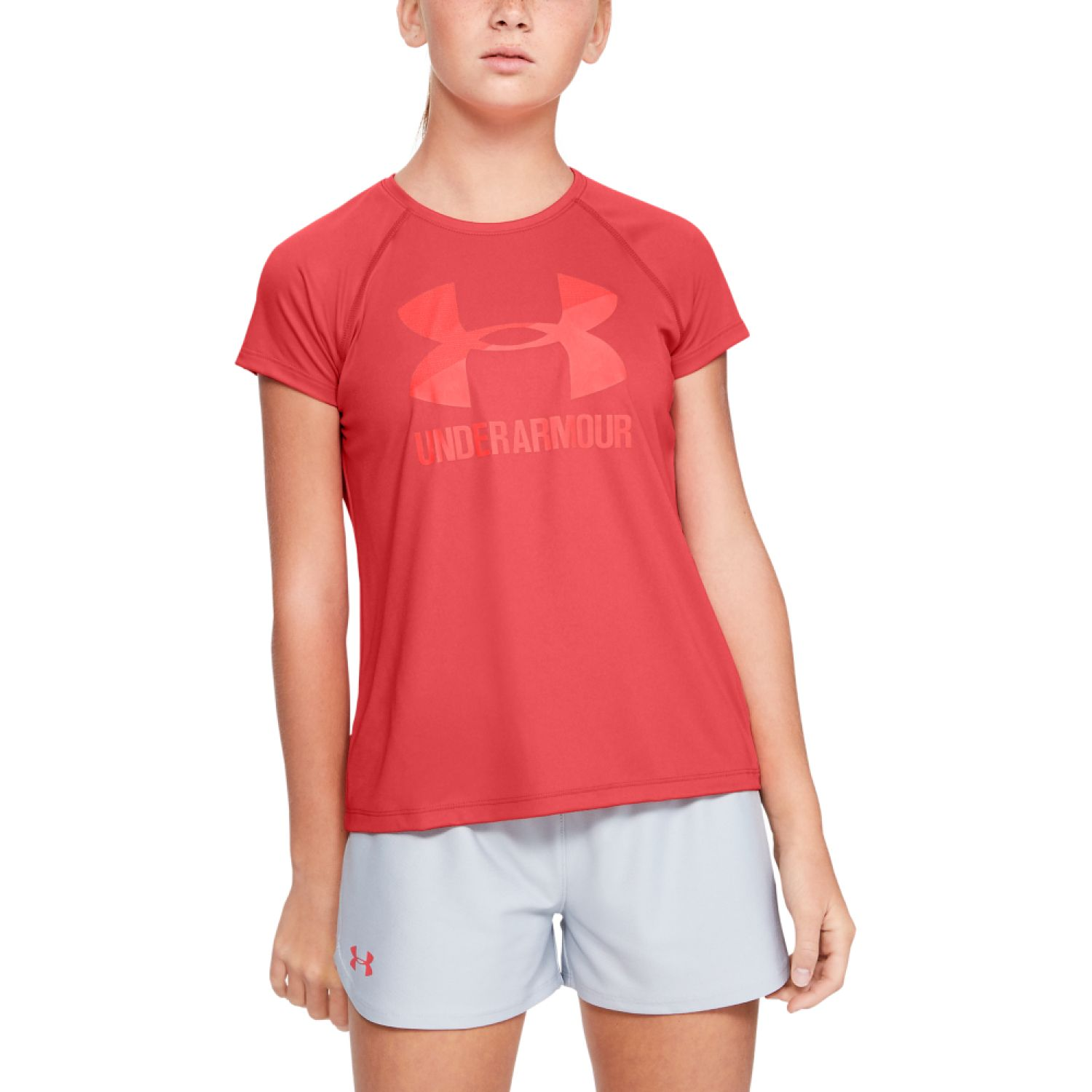 Under Armour Big Logo Tee Solid SS Coral Polos