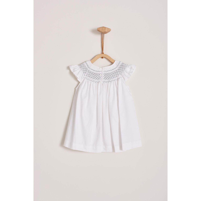 Babycottons Vestido Smock Blanco Bb + Boma Blanco Vestidos