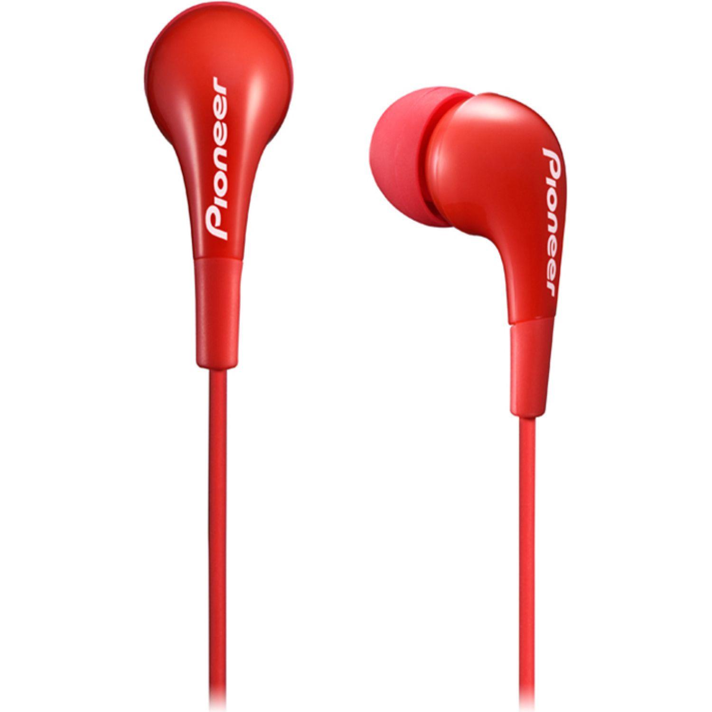 PIONEER Audífono cable 1.2m 3 gomas intercambi Rojo Auriculares en la oreja