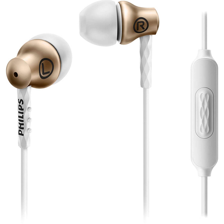Philips Audífono con micrófono, Aluminio Blanco / dorado Auriculares en la oreja