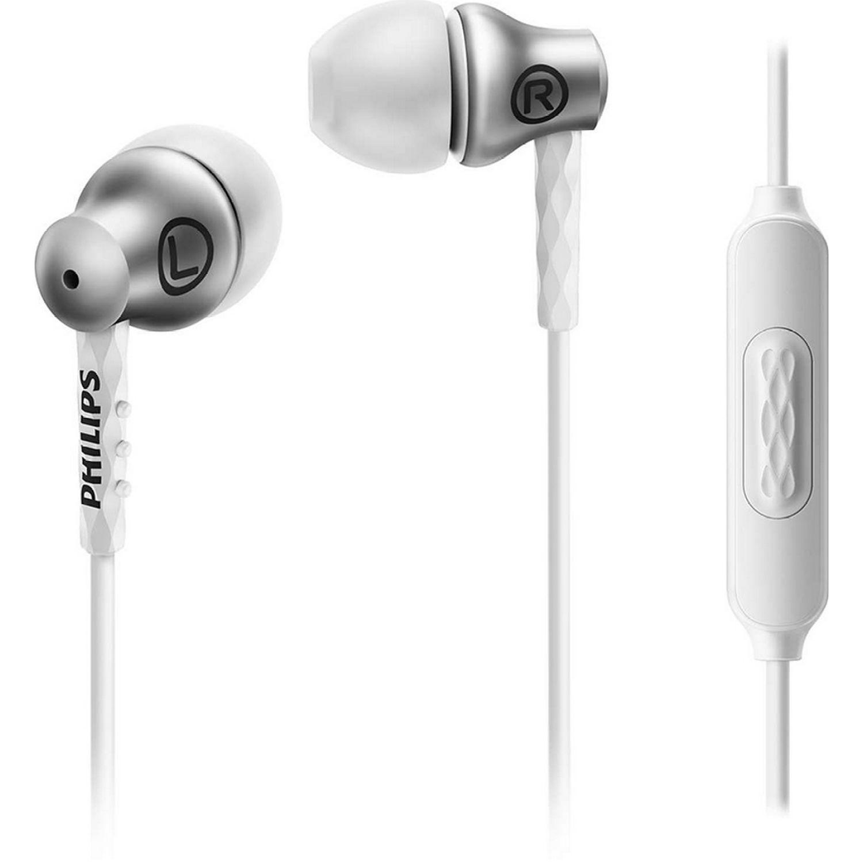 Philips audífono con micrófono, aluminio Blanco / plateado Auriculares en la oreja