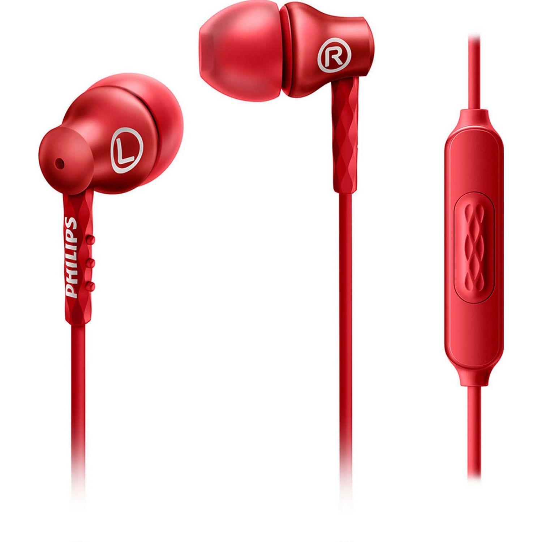 Philips Audífono Con Micrófono, Aluminio Rojo Auriculares en la oreja