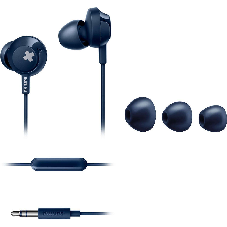 Philips Audífono con micrófono Big Bass Azul Auriculares en la oreja