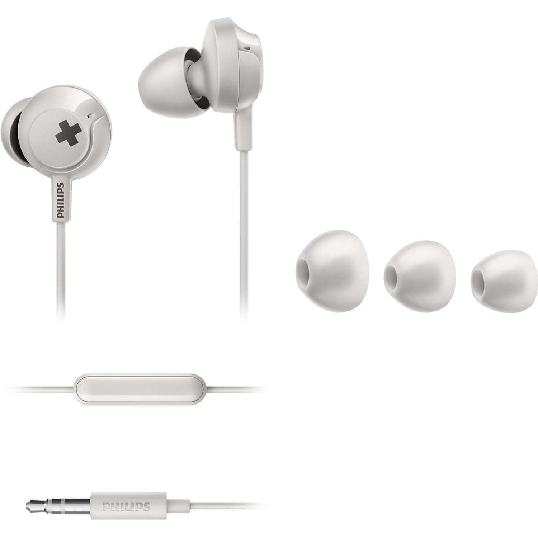 Philips Audífono con micrófono Big Bass Blanco Auriculares en la oreja