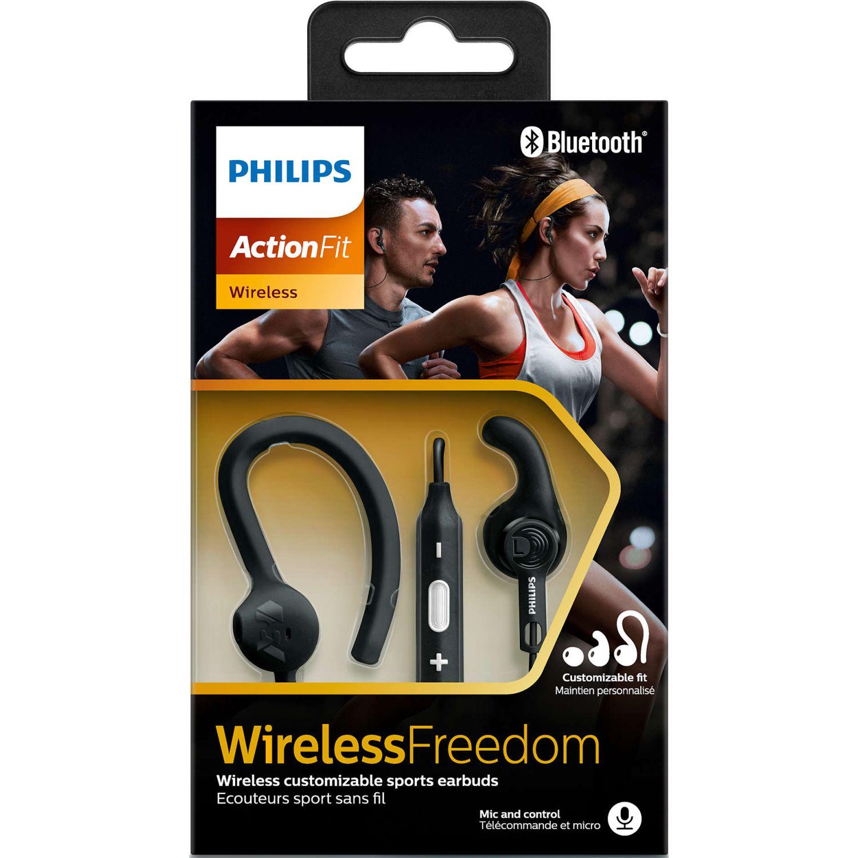 Philips Audífono Deportivo Bluetooth Negro Auriculares en la oreja