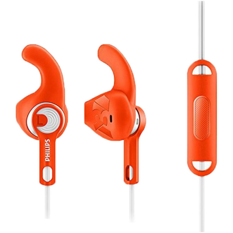 Philips Audífono Deportivo Con Micrófono Naranja Auriculares en la oreja