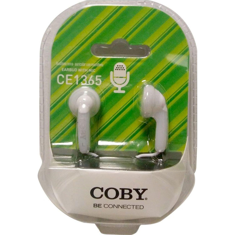 COBY Audífono Ear bud, con micrófono Blanco Auriculares en la oreja