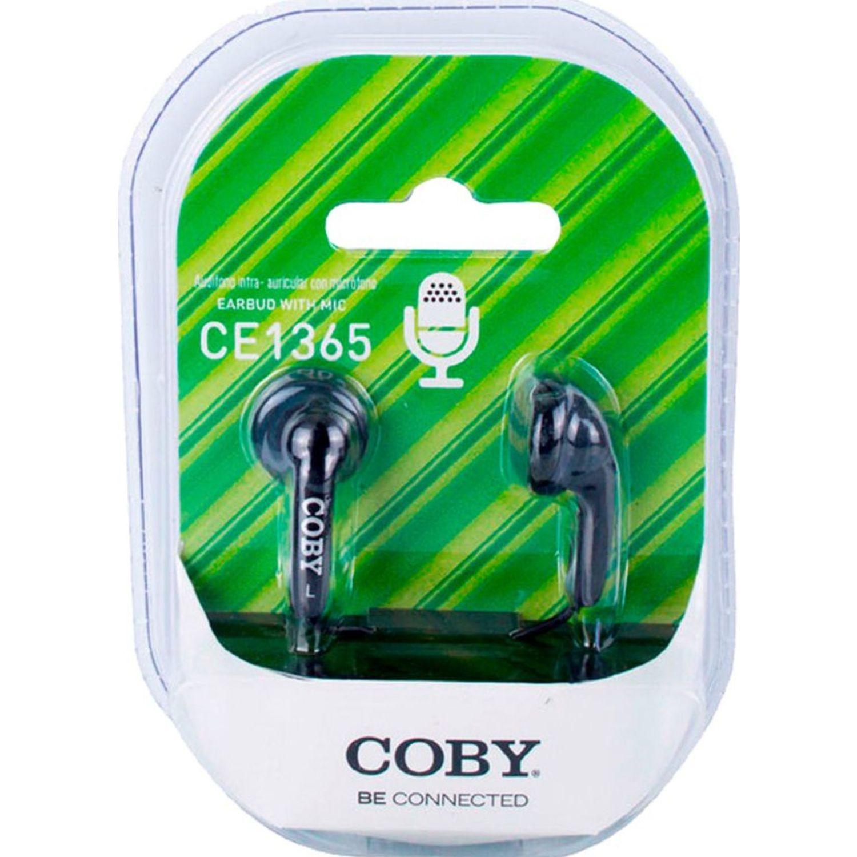COBY Audífono Ear Bud, Con Micrófono Azul Auriculares en la oreja