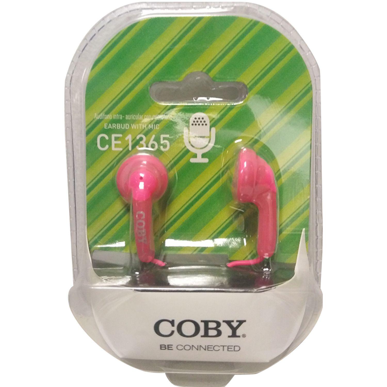 COBY Audífono Ear bud, con micrófono Rosado Auriculares en la oreja