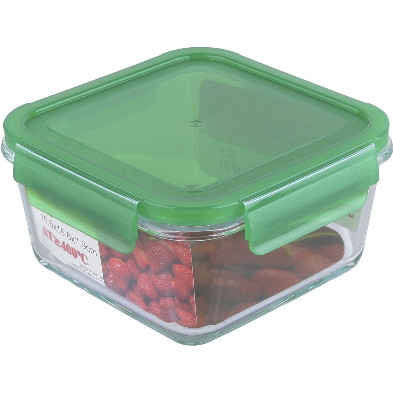 ICHIMATSU Taper Refractario Cuadrado 1 Lt Verde Verde Sets de almacenamiento y organización de alimentos