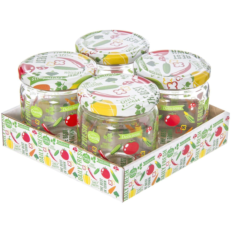 HEREVIN Set X 4 Frasco 425cc Jar-Vegetable Varios Frascos y Ollas de Alimentos