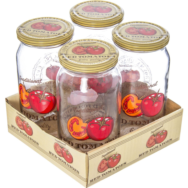 HEREVIN Set X 4 Frasco 1000cc Jar-Tomato Varios Frascos y ollas de alimentos
