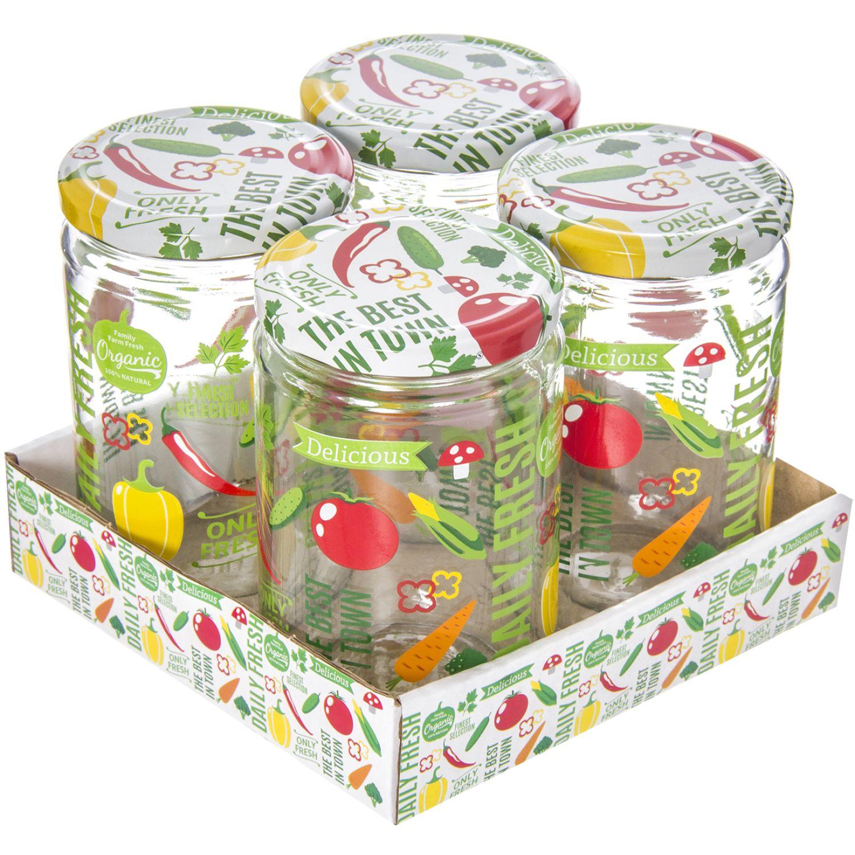 HEREVIN Set X 4 Frasco 660cc Jar-Vegetable Varios Frascos y Ollas de Alimentos