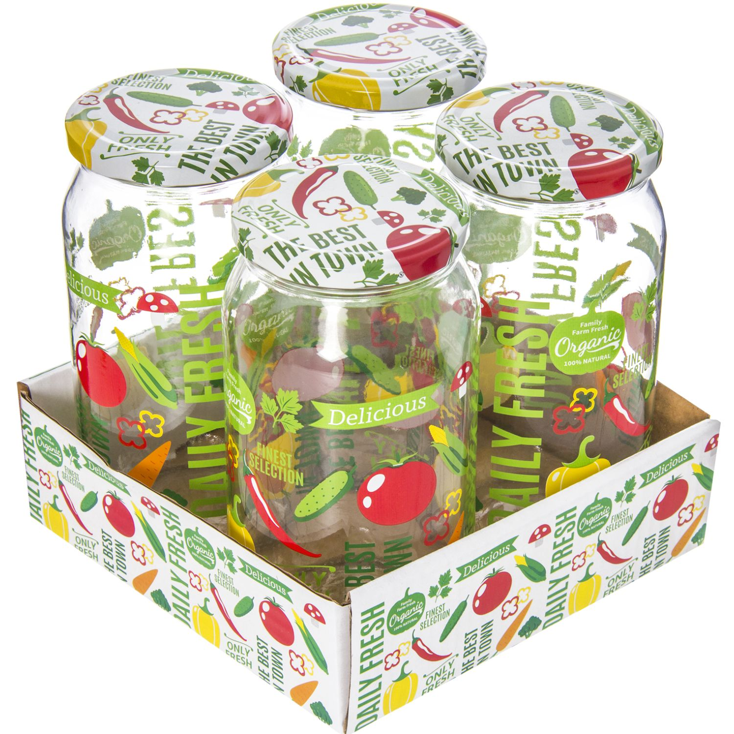 HEREVIN Set X 4 Frasco 1000cc Jar-Vegetable Varios Frascos y ollas de alimentos