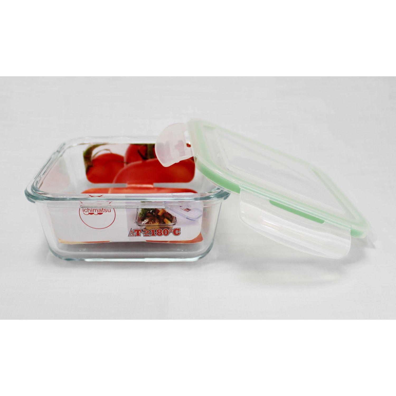 ICHIMATSU Taper Refractario Cuadrado 1 Lt Verde Sets de almacenamiento y organización de alimentos
