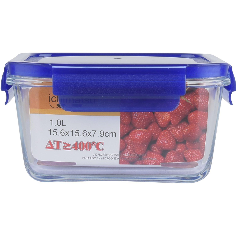 ICHIMATSU Taper Refractario Cuadrado 1 Lt Azul Azul Sets de almacenamiento y organización de alimentos